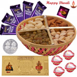 Dryfruit n Chocolate Combo - Assorted Dryfruits Basket 200 gms, 5 Dairy Milk Bars, 24 Carat Gold Plated Dhan Laxmi Varsha Note with 4 Diyas and Laxmi-Ganesha Coin