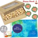 Dryfruits Box - Pista 200 gms, Celebration with 4 Diyas and Laxmi-Ganesha Coin