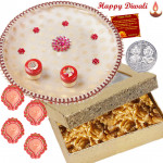 Dryfruits Combo Thali - Walnuts 200 gms, Puja Thali (W) with 4 Diyas and Laxmi-Ganesha Coin