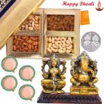 Dryfruits Treat - Assorted Dryfruits 200 gms, Laxmi-Ganesha Idols with 4 Diyas and Laxmi-Ganesha Coin