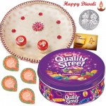 Elegant Choco Thali - Nestle Quality Street Chocolates, Puja Thali (W) with 4 Diyas and Laxmi-Ganesha Coin