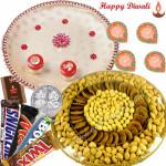 Elegant Dryfruits - Assorted Dryfruits Basket 800 gms, Snickers, Twix, Mars, Bounty, Puja Thali (W) with 4 Diyas and Laxmi-Ganesha Coin