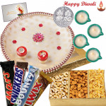 Elegant Dryfruits - Assorted Dryfruits 200 gms, Snickers, Twix, Mars, Bounty, Puja Thali (W) with 4 Diyas and Laxmi-Ganesha Coin