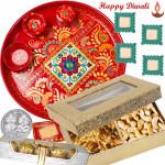 "Enticing Dry Fruits Thali - Meenakari Thali 6"", Cashew Walnut 200 gms in Box, Ferrero Rocher 4 pcs with 4 Diyas and Laxmi-Ganesha Coin"