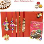Rakhi Family Set - Bhaiya Bhabhi Rakhi Pair with Sandalwood, Diamond, Pearl and Kids Rakhis