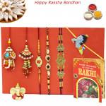 Rakhi Family Set - 2 Diamond Rakhi with Auspicious, 2 Lumba and Kids Rakhis