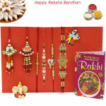 Rakhi Family Set - Auspicious Rakhi with Diamond, Pearl, Sandalwood, 2 Lumba and Kids Rakhis