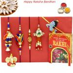 Rakhi Family Set - Bhaiya Bhabhi Rakhi Pair with Rudraksha, Lumba and Kids Rakhis