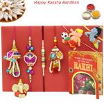 Rakhi Family Set - Bhaiya Bhabhi Rakhi Pair with Pearl, Lumba and 2 Kids Rakhis