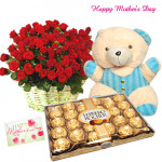 "Ferrero Treat - 50 Red Roses Basket, 24 pcs Ferrero Rocher, Teddy 6"" and Card"