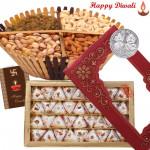 Festive Treat - Kaju Pista Pan 250 gms, Assorted Dry fruits 200 gms Basket with Laxmi-Ganesha Coin