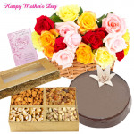 Flower Special - 25 Mix Roses in Basket, Assorted Dryfruits 400 gms, 1/2 Kg Chocolate Cake and Card