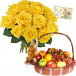 Flowers & Fruits - 12 Yellow Roses Bouquet, 3 Kg Fruits in Basket and Card