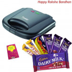 For Chef Sister - Prestige Fixed Grill Plates Sandwich Toaster 800 watts + Assorted Cadbury Hamper