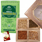 For Health - Tulsi Green Tea Bags, 200 gms Assorted Dryfruits and Card