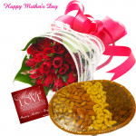 For Sweet Mom - 50 Red Roses Bunch, 200 gms Assoted Dry Fruits Basket and Card