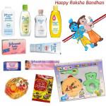 For Little ones - Flo-Rite Baby Rattle Set + Johnson Hamper with 1 Bheem & Krishna Rakhi and Roli-Chawal