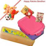 For School - Tiffin Box + Pencil box with 1 Ganesha with Football Rakhi and Roli-Chawal