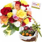 Fruit Combo - 12 Mix Roses Bouquet, 2 Kg Mix Fruits in Basket and Card