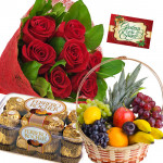 Fruits n Ferrero - 15 Red Roses Bouquet, Ferrero Rocher 16 pcs, 2 Kg Fruits in Basket and Card