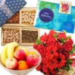 Fruitful Combo - 10 Red Mix Flowers Bouquet, 200 gms Assorted Dryfruits, Celebrations 160 gms, 1 Kg Seasonal Fruits Basket & Card