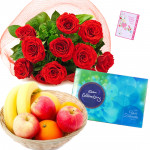 Fruity Chocolaty - 12 Red Roses Bouquet, Celebrations 160 gms, 1 kg Fruits in Basket and Card