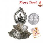 Ganesh Diya - Oxidized Ganesh Diya with Laxmi-Ganesha Coin
