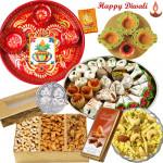 "Gift Express - Meenakari Thali 6"", Lindt Chocolate, Assorted Dryfruits, Kaju Mix 500 gms, Dryfruit Namkeen 500 gms, 4 in 1 Diya Thali, with Laxmi-Ganesha Coin"