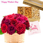 Gift for Mom - 15 Red & Pink Roses Basket, 200 Gms Assorted Dry Fruits Box and Card