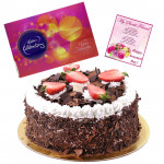 Grand Celebrations - Black Forest Cake 1 kg, Celebrations 121 gms and Card