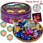 Grand Combo - Assorted Chocolates 100 gms, Danish Butter Cookies with 4 Diyas and Laxmi-Ganesha Coin