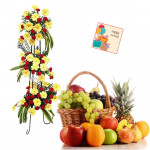 Grand Fruit Combo - 30 Yellow Gerberas + 40 Red Carnations Life Size Arrangement, 5 kg Mix Fruits in Basket and Card