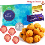 Grand Treat - Cadbury Celebrations, Kaanpuri Laddoo 250 gms, 2 Dairy Milk Bars with 4 Diyas and Laxmi-Ganesha Coin