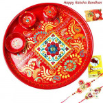 Handmade Pooja Thali - Meenakari 6 inch with 2 Rakhi and Roli-Chawal