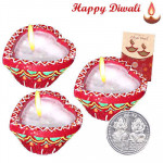Heart Diya - 3 Heart Shaped Diyas with Laxmi-Ganesha Coin