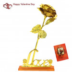 Golden Rose With Love & Valentine Greeting Card