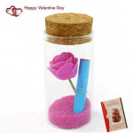 Messages In A Bottle With A Rose Souvenir & Valentine Greeting Card