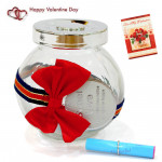 Message In A Jar With Bow & Valentine Greeting Card