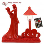Romantic Couple Besides Love Lamp & Valentine Greeting Card