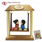 Swinging Couple On Wooden Frame & Valentine Greeting Card