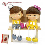 Cute Couple Sitting On The Bench & Valentine Greeting Card
