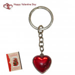 Red Heart With Metal Border Keychain & Valentine Greeting Card