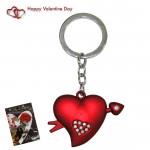 Red Heart With Arrow & Diamond Keychain & Valentine Greeting Card