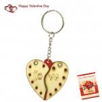 Cracked Heart Love Keychain & Valentine Greeting Card