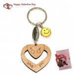 Heart Keychain With Cavity & Smiley & Valentine Greeting Card