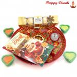 Fine Ferrero - Ferrero Rocher 5 Pcs, Meenakari Thali with 4 Diyas and Laxmi-Ganesha Coin