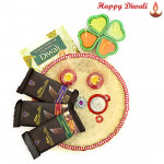 Bournville Thali - Puja Thali (W), 3 Bournville bars with 4 Diyas and Laxmi-Ganesha Coin