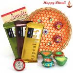 Tempting Treat - 3 Temptation 72 gms, Puja Thali (O) with 4 Diyas and Laxmi-Ganesha Coin