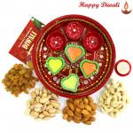 """Dryfruit Tray - Meenakari Thali 6"""", Assorted Dry Fruits 200 gms with 4 Diyas and Laxmi-Ganesha Coin"""