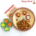 Almonds Thali - Almonds 200 gms, Puja Thali (W) with 4 Diyas and Laxmi-Ganesha Coin